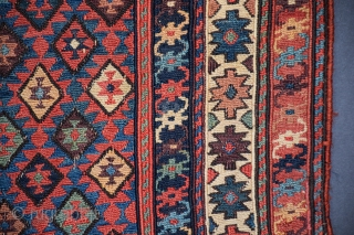 """Shahsavan bag face (#415), Khamseh region, NW Persia, 22"""" x 24"""", this weaving represents the masterful blending of exceptional color with the imagination of an experienced and skillful weaver, the olduz or  ..."""