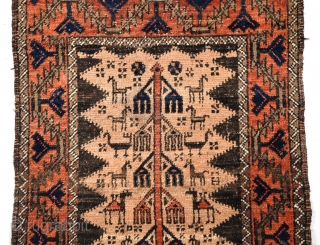 "Baluch (Aimaq) Rug, size 28"" x 54"" (71 x 137 cm), symmetrical knots, all natural dyes, field ground consists of camel hair rather than the more common dyed sheep's wool, portions of  ..."