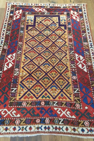 Unique Shirvan rug , Excellent piece, Orjinal and mint condition. Date bye the weaver 126 years old. the size 3x4'4 (92x132cm)