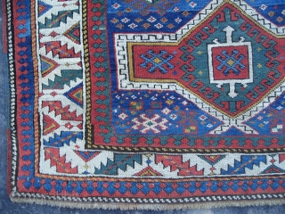 "Caucasian Kazak Prayer Rug, Dated 1878, Excellent Condition, 1.12 x 1.40 mt (3'8"" x 4'7""), pictures taken in daylight. www.rugspecialist.com"