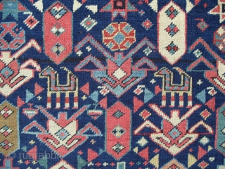 Caucasian Akstafa Prayer Rug, Excellent Condition and Fabulous Colours, full pile, 66x34 inches(167x86 cm), sec half 19th Century. Please ask for a Free CD containing images of some 150 antique Caucasian Rugs  ...