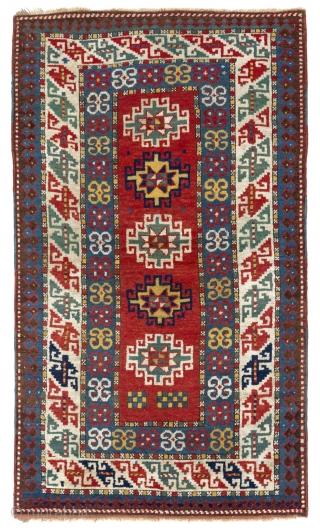 Antique Caucasian Kazak Rug, 3.7 x 6.1 Ft (110x186 cm), late 19th Century.