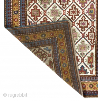 Antique Karabagh Rug, South Caucasus, 19th Century. 3.7 x 8.4 Ft (110x255 cm).