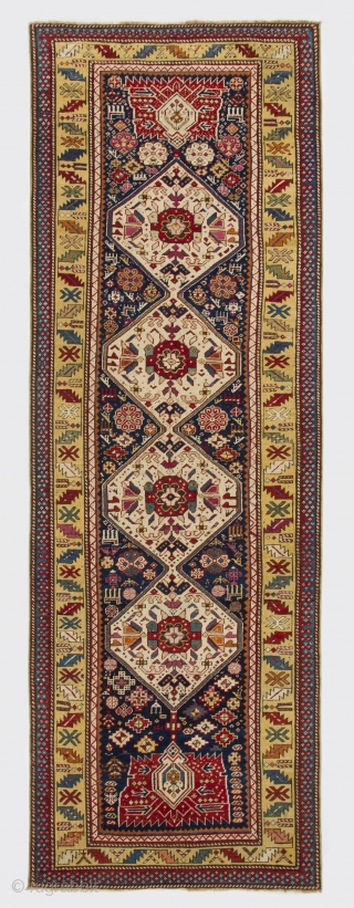 Gendje Runner, 3.7 x 10.8 Ft (110x326 cm), late 19th Century.