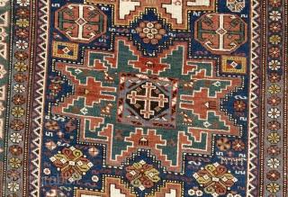 Wonderful tribal Lesghi Rug, Kuba region, North East Caucasus. Late 19th Century. 3.8 x 5.2 ft  (111x157 cm)