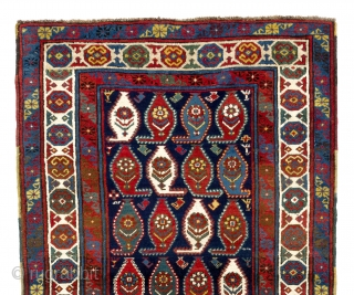 Antique South East Caucasian Gendje Rug. 3.8 x 6.4 Ft  (112x193 cm). Beautiful natural dyes and soft lustrous wool pile, no issues.