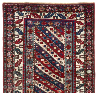 South Caucasian long Rug with diagonal stripes, 3.8 x 7.1 Ft  (112x217 cm), late 19th Century.