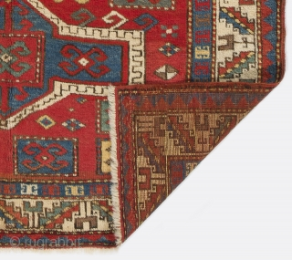 Caucasian Fachralo Kazak Prayer Rug, 3.8 x 4.9 ft. (113x145 cm), late 19th Century. Very good condition with near full pile.