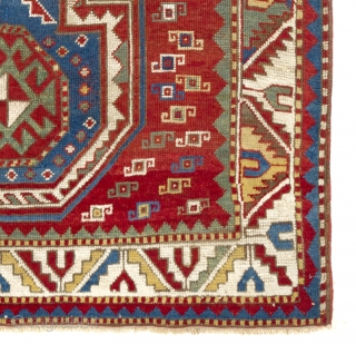 Caucasian Kazak Prayer Rug, 45x59 inches (115x150 cm), ca 1875