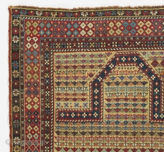 Yellow ground Shirvan Prayer Rug with an unusual design.  3.5 x 5 Ft (104x150 cm). late 19th Century.
