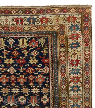 Antique Caucasian Shirvan Chi Chi Rug. 4x5 ft . (120x147 cm). Ca 1870
