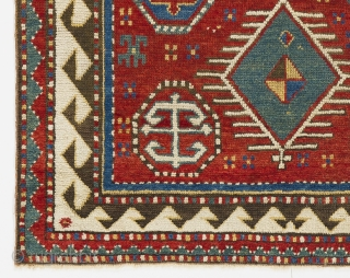 "a cute little Antique Bordjalou Kazak Rug, 3'5"" x 4'  (104x120 cm)."