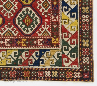 "An Outstanding Antique Caucasian Gendje Rug with pleasing colors. Lustrous even medium wool pile and well preserved condition. 4'5"" x 5'9""  -  135x175 cm. 14 days return & full refund  ..."