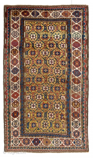 Antique Caucasian Kazak Rug with a beautiful yellow ground, 4 x 7 Ft (120x210 cm), ca late 19th Century