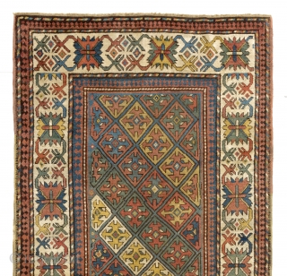 Antique Caucasian Karabagh Rug with crosses, 4 x 7.4 ft  (120x223 cm), ca 1870
