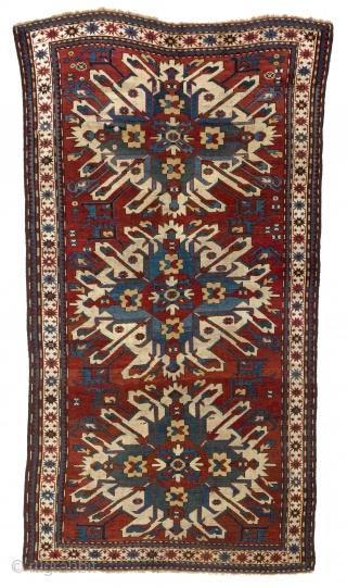 """Antique Caucasian Chelaberd Rug, so called Eagle Kazak, Karabagh Region, late 19th Century, 4' x 7'5""""  (120x225 cm). no a46."""