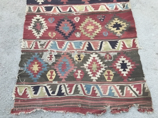 Another newfound, fresh to the market, an older Karapinar Kilim from Konya, Central Anatolia. Beautiful colors. 4.8 x 12.2 Ft (142x371 cm), ca early 19th Century. This one also needs a wash  ...