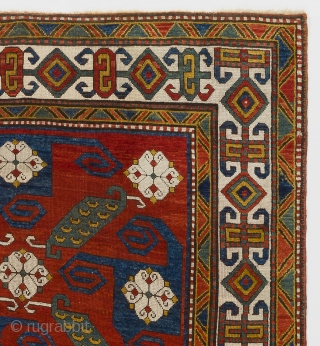 "An Impressive Pinwheel or so called ""Swastika"" Kazak Rug. Southwest Caucasus, ca 1880, 5'8"" x 7'5""  (172x225 cm). Provenance: A private British collection. Condition: Entire foundation of the rug is original  ..."