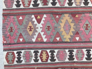 Fresh find from a village in West Anatolia, a nice and colorful Turkish Kilim.  5.5x10 Ft (166x305 cm), needs a wash and small repairs which we can take care of if  ...