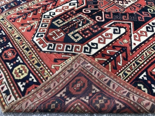 "Caucasian Sewan Kazak Rug, 5'3"" x 7'8""  (160x230 cm), very good original condition. all natural dyes, ca 1900-1910.  washed and ready to be used."