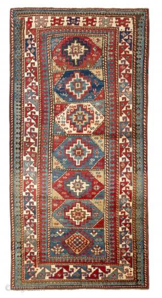 Colorful South Caucasian Moghan long Rug, 4 x 7.7 ft (120x240 cm), ca 1890,  full pile.