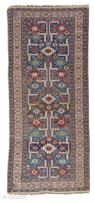 Antique Karaqashli Kuba Rug, NE Caucasus, 19th Century. Very good condition, all original, No repairs. All natural dyes.  4 x 9 Ft (120x276 cm)