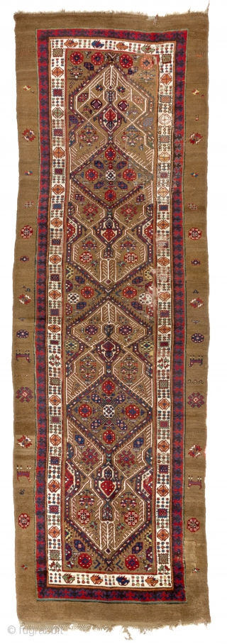 Antique Persian Serab Camel Hair Runner,  ca late 19th Century, 4 x 12.4 Ft  (120x375 cm).  Original as found, needs minor restoration that is reflected in the price.