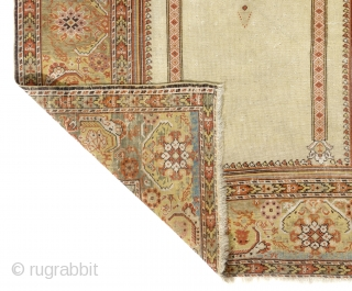 A West Anatolian Prayer Rug with delightful colors, possibly from Ghiordes, 4 x 5.7 ft (121x170 cm), ca late 19th Century. Very good condition, All original as found in France, no repairs.  ...