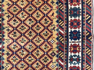Antique Caucasian Shirvan Runner, 3.3 x 9 ft  (100x270 cm), ca late 19th Century. Perfect condition, all original, no repairs, no issues, full pile, all natural dyes.