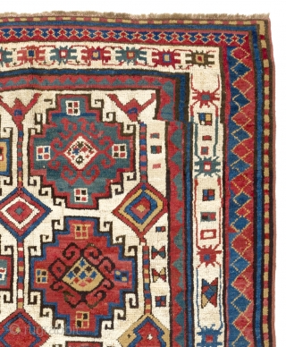 Antique Kazak rug with Moghan (Memling) Guls, South Caucasus - Azerbaijan, 19th century, 124x182 cm (49x72 inches)