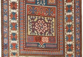 Antique Caucasian Kazak Rug, 124x246 cm (4.1 x 8 Ft), ca 1860.