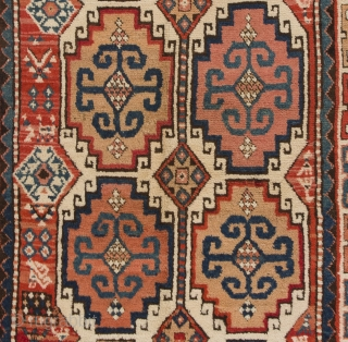 An Outstanding Antique Moghan Rug, Southern Caucasus, 4.1 x 7.6 Ft  (125x230 cm). Full pile, very good condition, all original as found, no repairs, no issues.