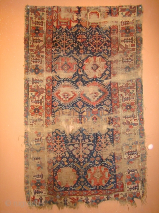 Early Kurdish rug Fragment. As found, needs a good bath. 39X65 Inches. 100X165 Cm.