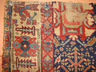 Early Kurdish rug Fragment. As found, needs a good bath. 39X65 Inches. 100X165 Cm.