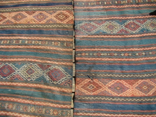 Anatolian Turkish Kilim. 6X7 feet 183X213 Cm. These are separated panels of the same Kilim, 3X7 feet each one a bit shorter. Very dirty with some small holes.
