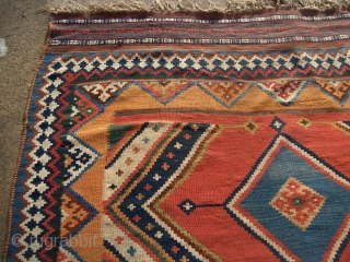 "Large SW Persian Qashqai or Kashkuli Kilim with excellent colors. 5'8"" X 10'2""....173X310 Cm. Great shape. Only minor fold wear like lines as shown on the top end."