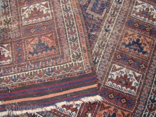 "Baluch Runner with Birds. 4'2""X12' ...127X366 Cm. Worn but all intact with the Kilim ends."