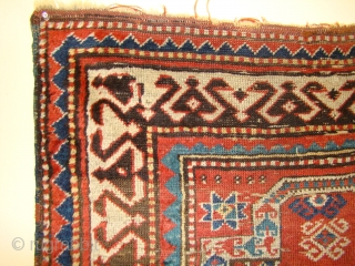 "Small Caucasian Kazak Prayer rug. 35""X50""....90X128 Cm. A few small holes and crease wear as shown. Better pile in the border area. All original sides and ends."