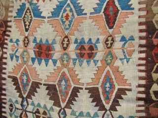 "Anatolian Turkish Kilim. 4'4""X13'9""....132X420 Cm. Two damaged areas in the field as shown. Had a few braided ""tail like"" weaving on the backside."