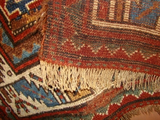 Kurdish rug with floppy handle and great natural dyes. 4' X 6'4"