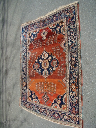 "Khanlig Karabak rug on wool foundation. Size: 4'7"" X 6'....140X183 Cm.