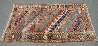 "Kurdish rug with Wear as shown. Measures 44"" X 77"".....112X196 cm"
