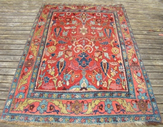 "Charming small Bijar. 4'5""X6'5"".... 135X195 Cm. Great shape, needs a good bath."
