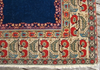 "Turkish Prayer rug with good short pile, lightly oxidized brown. Size: 4'1""X6'4"""