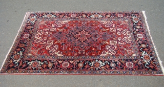 "Pair of small Heriz rugs circa 1920 with full pile and natural colors. Size: 4'10""X6'10"" and 4'10""X6'6"""