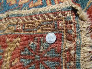 "Antique Caucasian Avar Rug. Size: 39"" X 75"" Partially missing Shirazeh and a few holes as shown."
