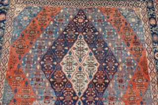 """Bakhshayesh Kelleh Carpet with good pile and some small holes as shown. Wool foundation. Size: 5'7""""X10'6"""" OR 170X320 cm"""