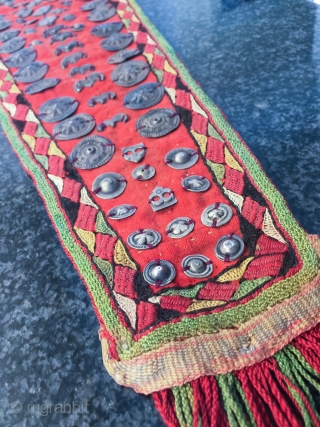 A very rare antique 19th Century Turkoman / Turkmen silk embroidered  with silver appliqué hair piece / dorsal, made by possibly by Ersari or Chodor tribe of Central Asia . It  ...