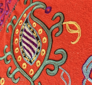 An exceptional and rare example of antique Uzbek Lakai tribe silk embroidered suzani dating to late 19th century. Often silk on coloured ground suzanis are wrongly attributed to Lakai when they were  ...