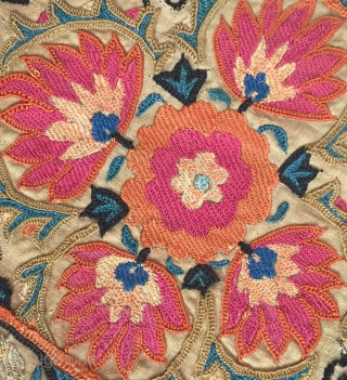 An Outstanding Antique Uzbek Bokhara Suzani / Susani dating between mid and third quarter of 19th Century.. This fine masterpiece has very fine silk embroidery in a combination of chain-stitched and basma/  ...